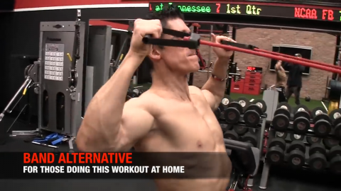 banded face pull home shoulder exercise
