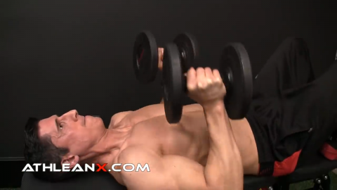 dumbbell close grip bench press exercise