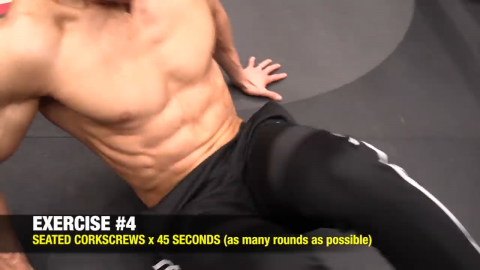 seated corkscrew abs exercise